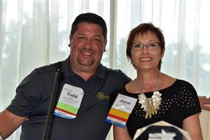 Todd Wade (Bonitz Flooring Group) and Joyce Cavin (Mannington Commercial)