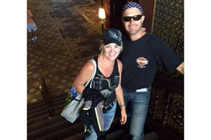 Jeff & Lisa Macco - Macco's Floor Covering - Ready to go on the Harley ride on the activity day.