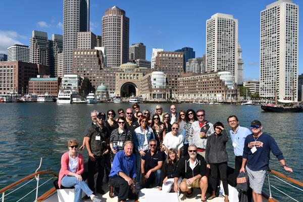 "Group in the Boston Harbor aboard ""Timeless"""