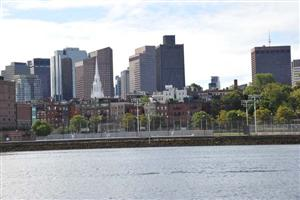 Boston Skyline with the Old North Church (